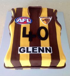 Hawthorn AFL Cake! Football Cake Design, Football Cakes, 60th Birthday Cakes, Birthday Ideas, Dad Cake, Food Cakes, Fondant Cakes, Hawks, Party Cakes