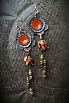 Flowers, Enamel Earrings, Torched Enamel, Vintage, Flowers, Artisan Made, Earthy, Organic, Beaded Earring by YuccaBloom on Etsy