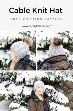 Make a warm, cosy cable knit hat for the colder months with this free knitting pattern. This hat uses one skein and knits up fast, which makes it great for gift giving! Add a yarn pom pom or a faux fur pom pom to the hat to finish it off! Knitted Mittens Pattern, Beanie Pattern, Knitted Hats, Christmas Knitting Patterns, Knitting Patterns Free, Free Knitting, Knitting Abbreviations, Cable Knit Hat, Quick Knits