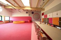 Image 8 of 27 from gallery of Yellow Elephant Kindergarten / xystudio. Courtesy of xystudio Kindergarten Interior, Kindergarten Colors, Kindergarten Drawing, Learning Spaces, Learning Centers, Early Learning, School Cafe, Movable Walls, Nursery School