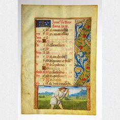 Mittelalterliches Pergamentblatt aus einem reich verzierten französischen Stundenbuch. Ein Kalenderblatt des Monats Juni mit sehr filigraner beidseitiger Miniaturmalerei und üppiger Goldverzierung. Herausgegeben in Nordfrankreich um 1480.  ABMESSUNGEN: Blatt: ca. H 16,5 cm x B 11,4 cm