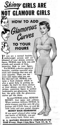 """Oh how things have changed!  I would much rather be in shape and have a shape...not """"be in shape by being a toothpick""""!!!"""