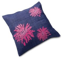Handwoven hemp cushion cover with pink flower $20.00  #Oxfam #Christmas #fairtrade #cushioncover
