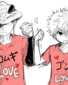 "Meruem and Killua ~Hunter X Hunter Love this, especially their shirts which say ""Komugi"" and ""Gon"" respectively"