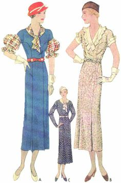 #T7451 - 1930s Ladies Dress with Puff Sleeve Option Sewing Pattern - Retro Glam