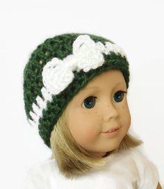 Christmas Doll Hat Knit Doll Beanie 18 Inch by PreciousBowtique