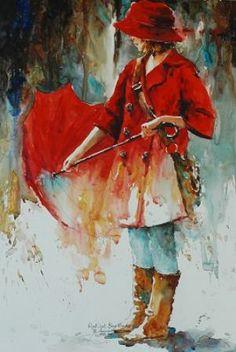 """""""Red Coat, Blue Mood III"""" by Bev Jozwiak"""