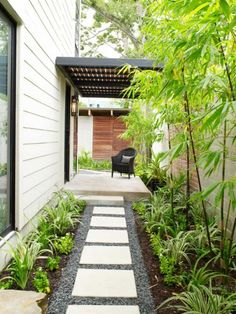 SQUEEZE PLAY: Landscape architect Rita Hodge added tall black bamboo and lower-g., SQUEEZE PLAY: Landscape architect Rita Hodge added tall black bamboo and lower-growing perennials to soften this narrow, vertical entry. Side Yard Landscaping, Landscaping Ideas, Modern Landscaping, Landscaping Software, Landscaping Company, Black Rock Landscaping, Landscaping Contractors, Landscaping Melbourne, Hillside Landscaping