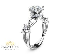 1.55CT Moissanite Twist Engagement Ring 14K by CamelliaJewelry