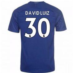 Chelsea David Luiz 30 Domácí Dres 17-18 Krátký Rukáv Chelsea, Manchester United, Premier League, 30th, Barcelona, Fashion, Goaltender, Leotards, Football Soccer