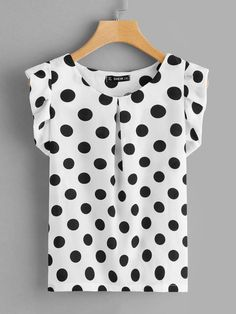To find out about the Plus Fold Pleat Neck Ruffle Trim Polka Dot Top at SHEIN, part of our latest Plus Size Blouses ready to shop online today! Ruffle Fabric, Ruffle Trim, Plus Size Blouses, Plus Size Tops, Black And White Style, Color Black, Pli, Summer Shirts, Polka Dot Top