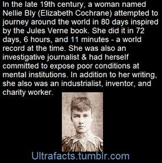 Nellie Bly (Elizabeth Cochrane) around the world in 72 days 6 hours & 11 minutes Interesting History, Interesting Facts, Unique Facts, Historia Universal, Wtf Fun Facts, Random Facts, Humanity Restored, Women In History, Ancient History