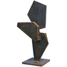 Monumental Stunning Geometric Corten Steel Sculpture | From a unique collection of antique and modern statues at https://www.1stdibs.com/furniture/building-garden/statues/