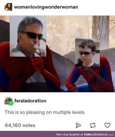 Into the spider verse Spiderman Miles Morales Peter Parker meme fandom geek father and son boy kid children parenting musician music trumpet kitchen vine Stupid Memes, Stupid Funny, Haha Funny, Hilarious, Funny Stuff, Funny Things, Random Things, Random Stuff, Spider Verse