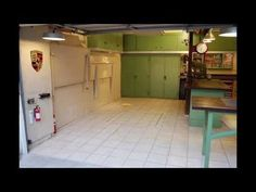 This clip shows my two fold-down benches along the wall where I park a car. It also shows the concealed lift. (It's also got some banjo music, so, you know, there's that. Garage Pictures, Two Car Garage, Garage Shop, Banjo, Thing 1 Thing 2, Gauges, Storage Solutions, Benches, Innovation