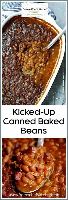 Canned Baked Beans, Easy Baked Beans, Baked Bean Recipes, Vegan Recipes Easy, Gourmet Recipes, Cooking Recipes, Appetizer Recipes, Cooking Tips, Appetizers