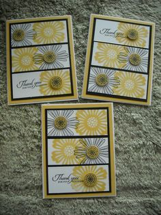 Stampin' Up! ... handmade thank you cards ... three panel cards ... stamped flowers ... like the design ...