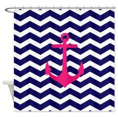 CafePress Hot pink anchor blue chevron Shower Curtain - Standard White CafePress http://www.amazon.com/dp/B00JTO9GSU/ref=cm_sw_r_pi_dp_92g0tb0675WVM0FV