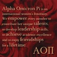 AOII Empowers her members, develops her Talents, Leadership skills, lauds her Academic Excellence and Achievements, and creates Friendships for a lifetime.