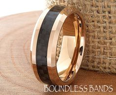 Rose Gold Wedding Band 18K Mens Tungsten Carbide by BoundlessBands