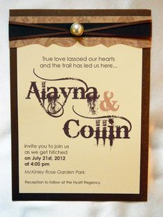 """Country Chic - My """" fake Wedding"""" invite made by Throne Invitations in Sacramento."""