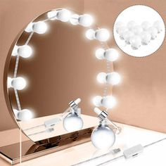 10 LED String lights Dimmable Mirror Light USB Power Supply Light Bulb String for Makeup Dressing Table Decoration JY Diy Mirror With Lights, Led Mirror, Hollywood Mirror, Hollywood Glamour, Makeup Dressing Table, Led Diy, Led Wall Lamp, Led String Lights, Diy Makeup