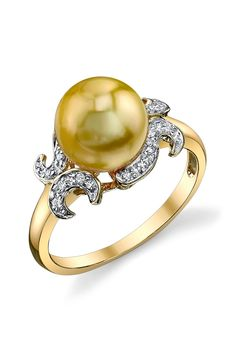Radiance Pearl 14K Yellow Gold 9mm Golden South Sea Pearl & Diamond Ring