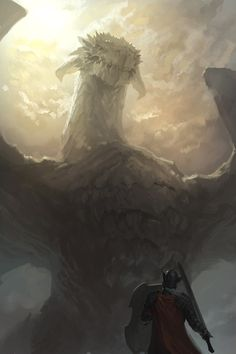 Saav and the Dragon by artist Mingchen Shen. Once again emphasis on scale this angle is good but only thing is we want to get an idea of the surrounding environment ! as well