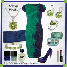 """""""Peridot and Sterling Silver Jewelry with Navy Blue and Green Dress"""" by jacqueline-jordan on Polyvore"""