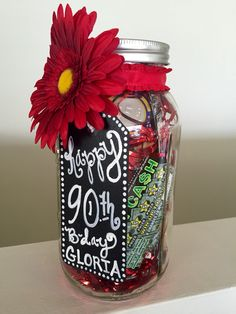 Gift In A Extra Large Mason Jar This One Is Casino Gambling Theme For Surprise Birthday Party Its Filled With Lotto Tickets Chocolate Gold Coins
