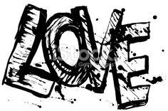 love letters black sketch. Vintage Poster. vector Royalty Free Stock Vector Art Illustration