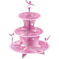 BALLERINA PINK CUPCAKE CAKE STAND~THREE TIERS~AMSCAN QUALITY STAND~FREE PP UK | eBay