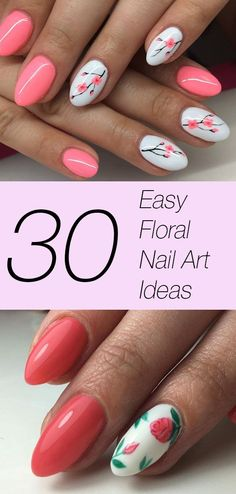 30 easy ways to slay floral nail art Spring is coming, and easy floral nail art ideas are on your mind. Here are 30 stunning, easy to recreate floral nail art ideas that will have you floating on cloud 9 IMMEDIATELY. Flower Nail Designs, Nail Designs Spring, Cool Nail Designs, Spring Nail Art, Spring Nails, Summer Nails, Cute Nails, My Nails, Floral Nail Art