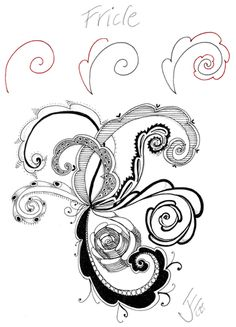 Fricle - Julie Evans tangle pattern instructions and example #zentangle
