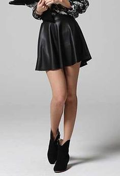 BLACK LEATHER look FLARED #SKIRT #women #ladies girl matt mini a line pleated short $13.99