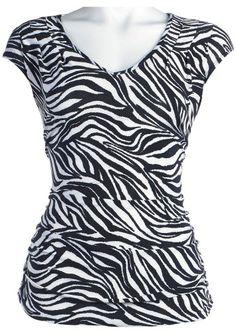 I WANT THIS!  Amazon.com: Misses CS Focus Shirred Zebra Print Top: Clothing