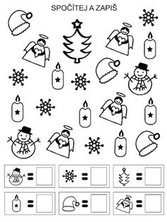 Pro Šíšu: Pracovní listy POČÍTÁME Numbers Preschool, Preschool Math, Christmas Math, Christmas Activities, Montessori Activities, Activities For Kids, Christmas Cards Drawing, Kindergarten Math Worksheets, Math For Kids