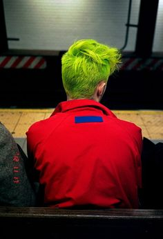 Chartreuse colored man hair #green #yellow #highlighter