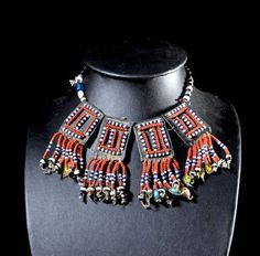 Africa   Beaded necklace worn by young Afar (Danakil) women in Ethiopia.  Leather and glass beads.  ca. 1970 - 1980   350€