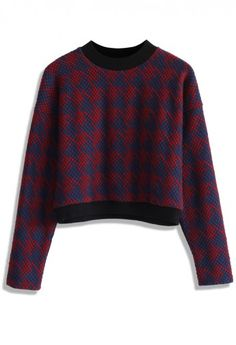 Houndstooth Quilted Sweat Top