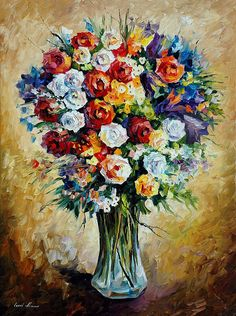 On this oil painting of a bouquet of flowers by Afremov, you can see his favorite flowers. Use this canvas to show your sophisticated taste to your guest and place it in any room of your place. Old Paintings, Colorful Paintings, Original Paintings, Floral Paintings, Painting Gallery, Oil Painting On Canvas, Canvas Wall Art, Painting Art, Palette Knife Painting