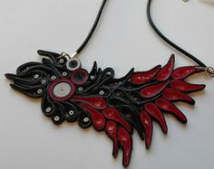 Large statement necklace Fire hippie necklace by MammaMiaArt