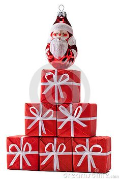 Christmas tree made of Santa's gifts isolated on white.
