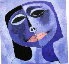 Cabeza azul (1991) Acrilico sobre acrilico 100 x 100 cm