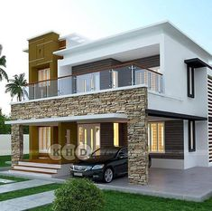 3 Storey House Design, Bungalow House Design, House Front Design, Modern Small House Design, Modern Exterior House Designs, Contemporary Home Exteriors, Modern House Facades, Modern Contemporary, Home Building Design