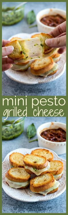 Mini Pesto Grilled Cheese – Fresh basil pesto and sliced provolone cheese is sandwiched into a crusty baguette and grilled to perfection t0 make the best appetizer for any event. Don't forget to serve with homemade garlic butter tomato sauce for dunking!