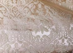 PAGEANT, REDUCED HOME DECOR JACQUARD SATIN FABRIC TAUPE 58  BRIDAL FORMAL