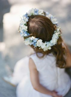 Blue and white hydrangea circlet, perfect for little bridesmaids