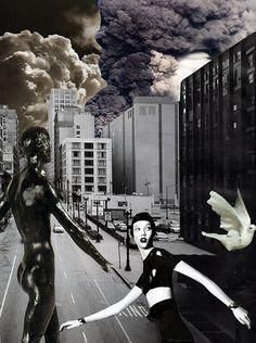 Dans la rue, 2017. Collage papier de Zophie Zyphon