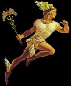 Hermes, or Mercury with his winged helmet and shoes, carrying his symbol the caduceus. The only god of Mt. Olympus who had entree into the 3 worlds.